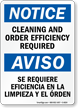 Bilingual Cleaning And Order Efficiency Required Sign