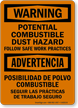 Bilingual Potential Combustible Dust Hazard Sign