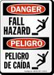 Fall Hazard, Peligro De Caidas Bilingual Sign