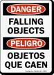 Bilingual Danger Falling Objects Sign