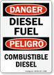 Bilingual Danger Diesel Fuel Sign