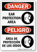 Bilingual OSHA Danger Ear Protection Area Sign