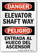 Bilingual Elevator Shaft Way Sign