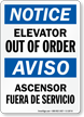 Elevator Out Of Order/Ascensor Fuera De Servicio Sign