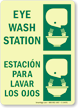 Glow-in-the-Dark Bilingual Eyewash Sign