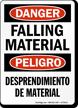 Bilingual Falling Material / Desprendimiento De Material Sign