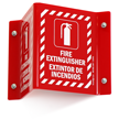 Bilingual Fire Extinguisher Sign with Graphic