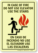 Glow-In-The-Dark Bilingual In Case Of Fire Sign
