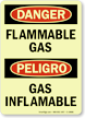 Bilingual GlowSmart Danger Flammable Gas Sign