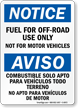 Fuel For Off-Road Use Only Bilingual Notice Sign