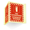 Bilingual Projecting Door Fire Extinguisher Sign