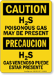 Bilingual H2S Poisonous Gas May Be Present Sign