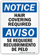 Notice Hair Covering Required Bilingual Sign