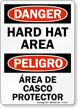 Danger Hard Hat Area Bilingual Sign