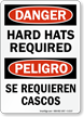 Bilingual OSHA Danger / Peligro Wear Hard Hats Sign