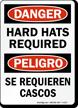 Bilingual OSHA Danger / Peligro Wear Hard Hats Sign