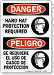 Hard Hat Protection Required Bilingual Danger Sign