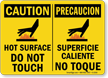 Caution Hot Surface Not Touch Sign Bilingual