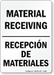 Material Receiving, Recepción De Materiales Sign