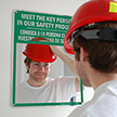 Bilingual Mirror Safety Message Sign