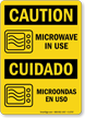 Microwave In Use, Microondas En Uso Sign