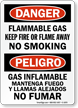 Bilingual Danger Flammable Gas No Smoking Sign