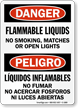 Flammable Liquids No Smoking Sign, Bilingual Danger