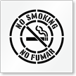 Bilingual No Smoking Floor Stencil with Graphic