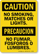 No Smoking, Matches Or Lights Bilingual Sign
