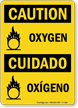 Caution Oxygen Cuidado Oxigeno Sign