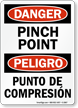 Bilingual Pinch Point OSHA Danger Sign