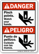 Danger Bilingual Pinch Points, Watch Your Hands Sign