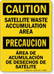 Bilingual Satellite Waste Accumulation Area Caution Sign