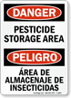 Bilingual OSHA Danger Pesticide Storage Area Sign