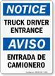 Bilingual Truck Driver Entrance Entrada De Camionero Sign