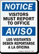 Bilingual OSHA Notice Visitors Must Register Sign