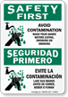 Bilingual Safety First: Avoid Contamination Sign
