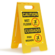 Bilingual Caution Wet Floor, Piso Mojado Standing Sign