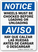 Truck Wheels Chocked Loading Unloading Sign