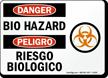 Bilingual Bio Hazard OSHA Danger Sign