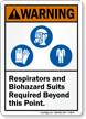 Respirator And Biohazard Suits Required ANSI Warning Sign