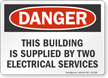 Building Supplied By Two Electrical Services Sign