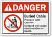 Buried Cable Proceed With Caution ANSI Danger Sign