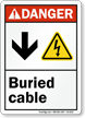 Buried Cable with Down Arrow Electric Shock Symbol Sign