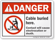 Cable Buried Here ANSI Danger Sign
