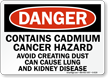 Danger: Contains Cadmium Cancer Hazard Sign