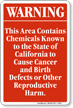 Warning Area Contains Chemicals Known California Sign