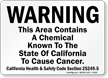 Warning This Area Contains A Chemical Sign