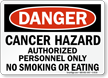 Danger: Cancer Hazard Authorized Personnel Only Sign