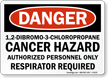 Cancer Hazard Respirator Required Sign